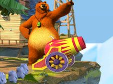 Grizzy and The Lemmings Cannon Shooting